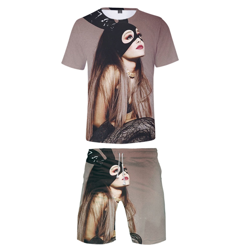 2019 New Style Hot Sales Europe And America Ariana Grande Short Sleeve T-shirt Shorts Set