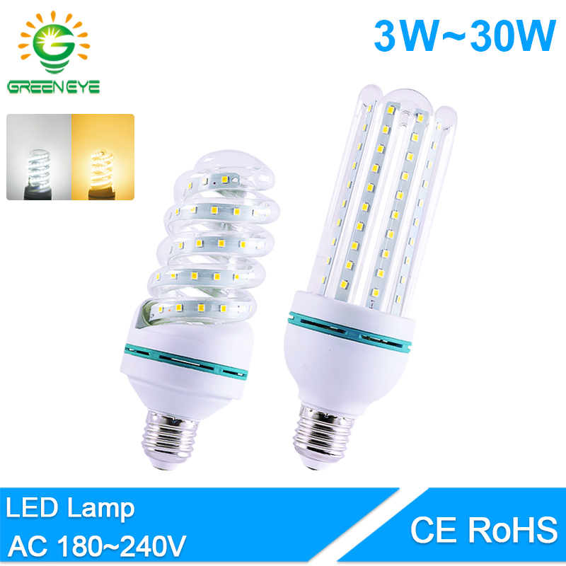 GreenEye Led Bulb E14 E27 3W 7W 9W 12W 16W 20W 30W LED Light AC 220V 240V Real Watt Lumiere Bombilla Lampadina LED Lamp Aluminum