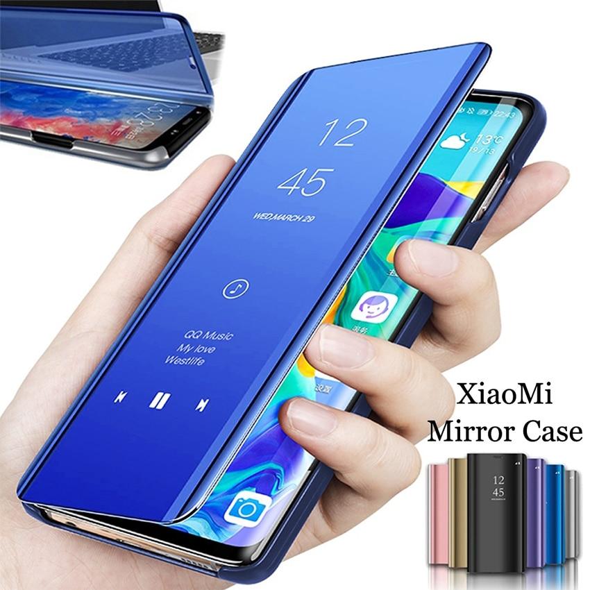 Luxo Flip Leather Stand Chapeamento Espelho Smart Clear View Case para Xiaomi Redmi Case Note 6 7 8 Pro S2 Y2 k20 Pro 6 7 5A 6A 7A 8A Go