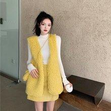 Новый корейский вариант меховой жилет + трикотажная рубашка