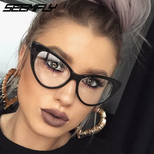 Seemfly New Sexy Cat Eye Glasses Women Transparent Eyewear Brand Designer Vintage Clear Eyeglasses Optical Frame Oculos