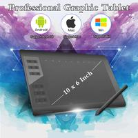 Digital Tablet 10*6 Inch Professional Graphic Tablet 8192 Level Android/Mac/Win Digital Drawing Tablet No need charge Pen Tablet
