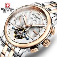 카니발 남자 시계 럭셔리 브랜드 자동 기계식 시계 남자 방수 빛나는 시계 남성 뚜르 비옹 스틸 손목 시계