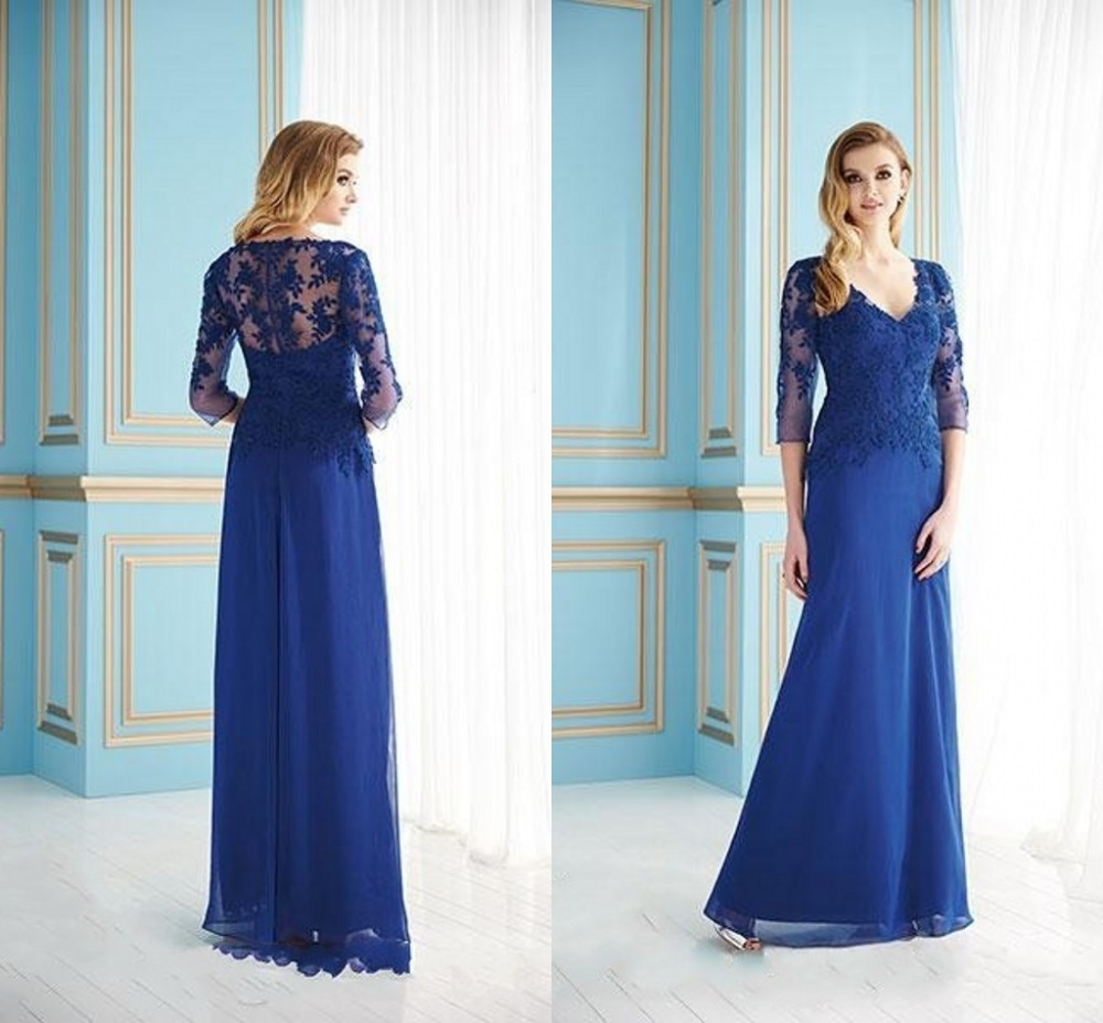 SG20 Sexy Mother Of The Groom Dress Lace Illusion Sleeves Ankle Length Long Evening Gown Women Dresses Vintage Vestidos 2015Blue