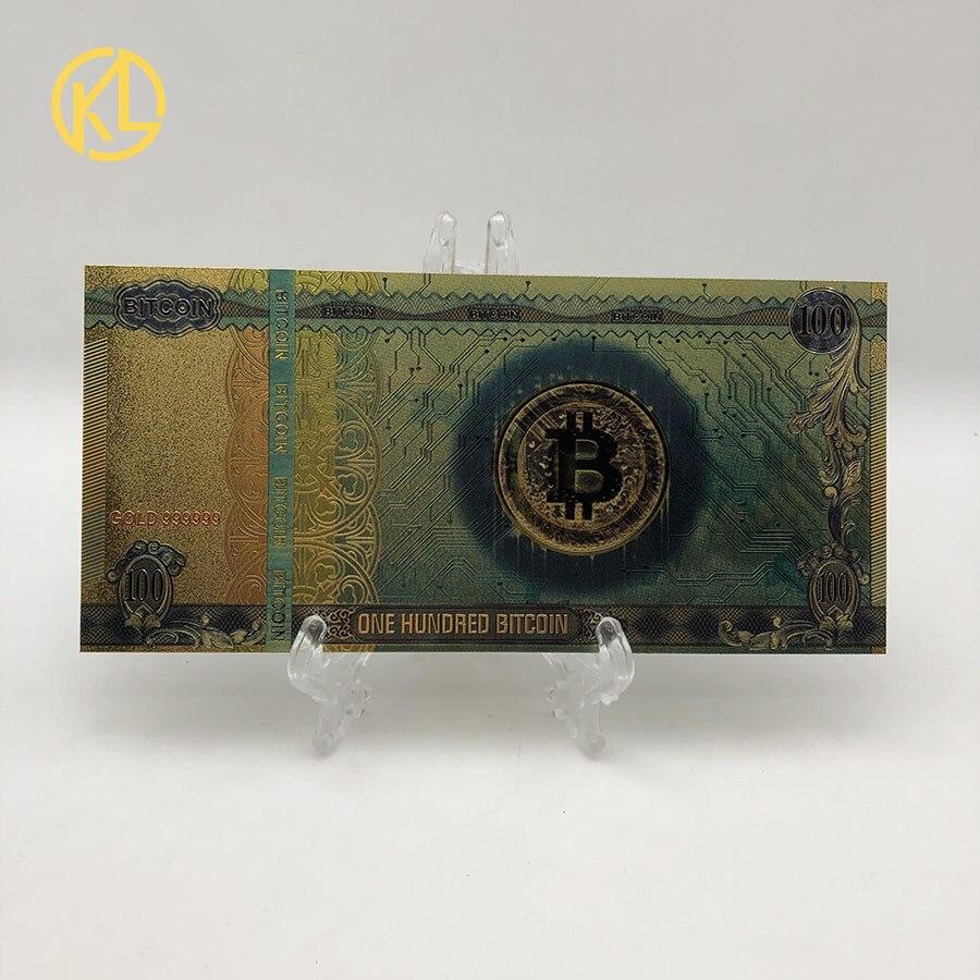 1pc colorido banhado a ouro banknot cem dinheiro plástico bitcoin com luz uv falso dinheiro lembrança decoração de casa