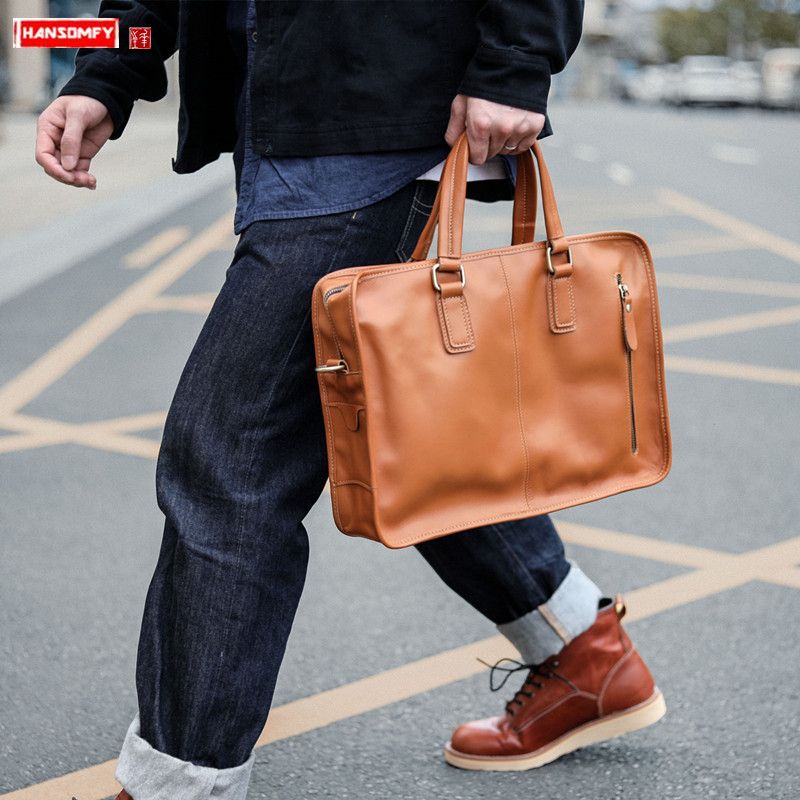 Vintage Men's Leather Handbag Briefcase Business Casual Documents Package Handmade Leather Bag Computer Bags