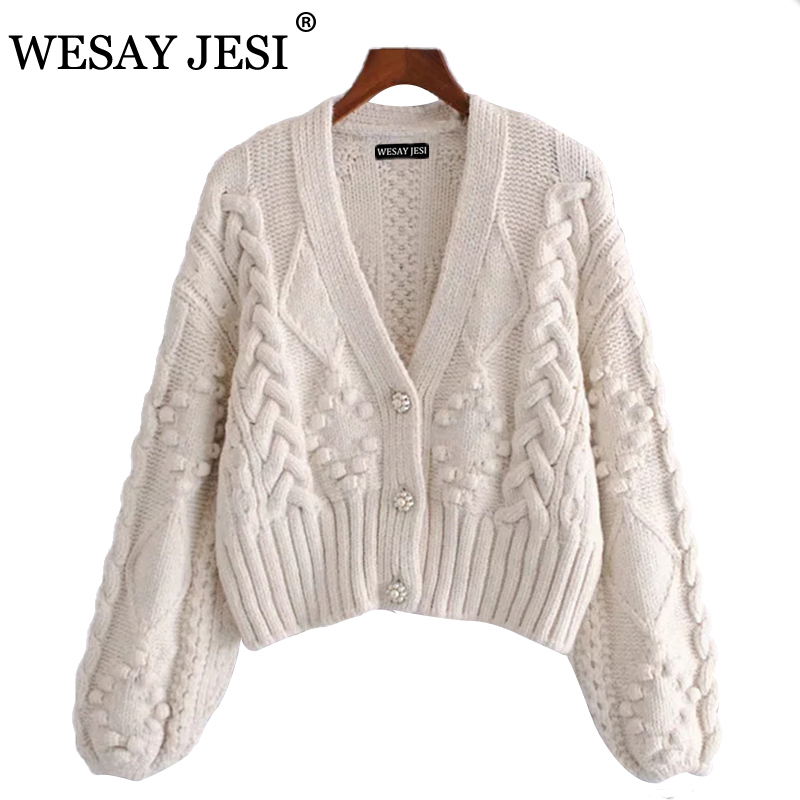 WESAY JESI Women's 2021 Spring Knitted Cardigan Women Sweater Thick Loose Lantern Sleeve Pearl Button Short Sweet And Lazy Style
