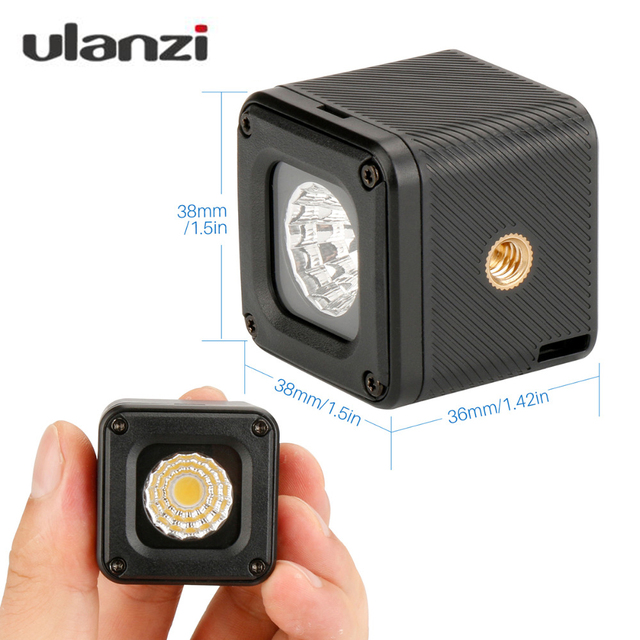 Ulanzi L1 Waterproof LED Video Light on Camera DimmableAdventure Lighting for DJI Yuneec Drones DJI Osmo Pocket DSLRs Gopro