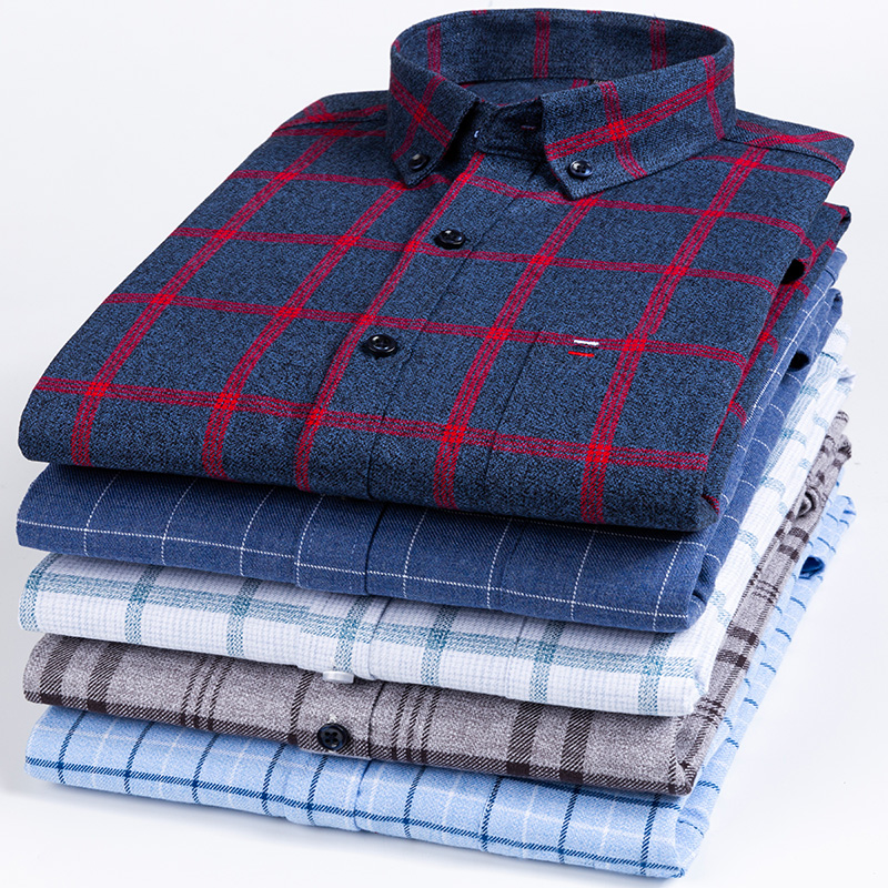2020 New Style Hot-sale Fat Guy Plus-size 5XL 6XL 7XL 8XL Pure Cotton Plaid Twill Long Sleeve Men Shirt Soft Loose 120kg 130kg
