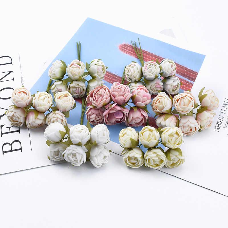 6/18 pezzi MINI germogli di tè di seta rose wedding bouquet per la casa fiori decorativi ghirlande di natale regali fai da te scatola di piante artificiali