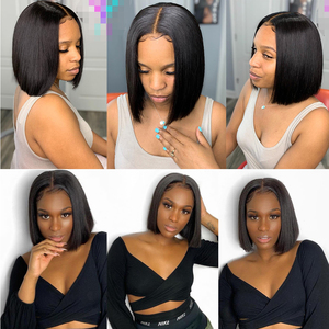 Image 5 - Jaycee 4x4 קצר בוב פאות תחרה סגירת פאה ישר שיער טבעי פאות עבור נשים שחורות 150% alipearl שיער Perruque cheveux Humain