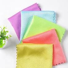 3 pacotes de cor aleatória limpador mágico limpar trapos de vidro não vai absorver o cabelo, peixe escala pano preguiçoso housework limpeza artefato