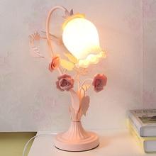 European Creative Pink Flower Table Lamps Cute Princess Pink Girl Warm Nightstand Lamp Living Room Bedroom Art Deco Table Light
