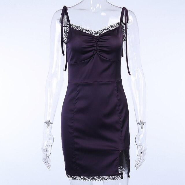 InsGoth Sexy Spaghetti Straps Bodycon Gothic Black Dress Women Streetwear Black Lace Up Mini Female Dress Casual Purple Dress 5