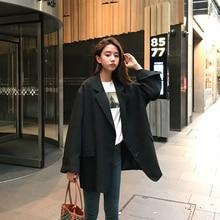 Korean Loose Ladies Blazer Black Casual Stylish Suit Jacket Simple Veste Blazer High Street Vintage Women's Clothing New MM60NXZ