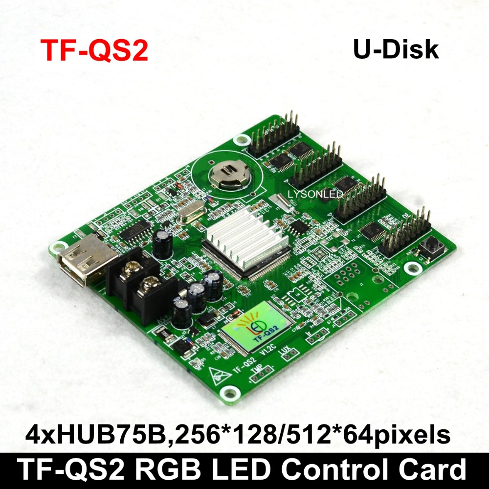 Free Shipping TF-QS2 U-Disk ASynchronization Full Color LED Display Card 256x128 Pixels 4xHub75 Support P4 P5 P10 LED Module