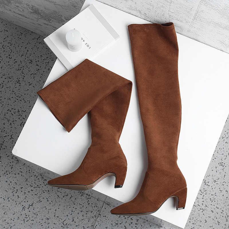 Uzun Çizmeler Kadın Elastik Overknee Çizmeler Yüksek topuklu ayakkabılar