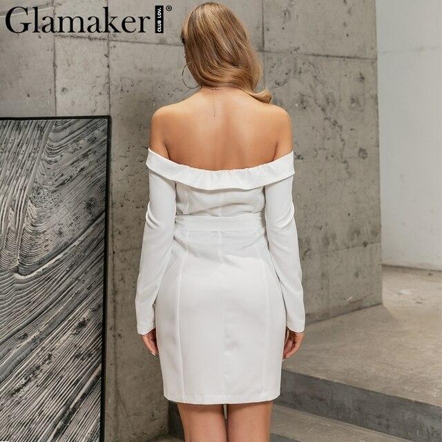Glamaker Sexy white off shoulder belt blazer dress Women party long sleeve bodycon dress Fashion elegant club female short dress 3