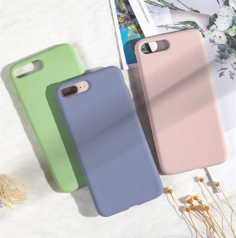 Gimfun Liquid ซิลิโคนสีทึบสำหรับ IPhone XSMAX XR X Candy สีสำหรับ IPhone 11 Pro Max 7 6S 8 Plus TPU Matte