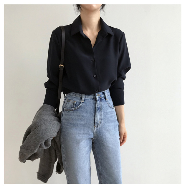 New Women's Shirt Classic Chiffon Blouse Female Plus Size Loose Long Sleeve Shirts Lady Simple Style Tops Clothes Blusas 6830 50 2