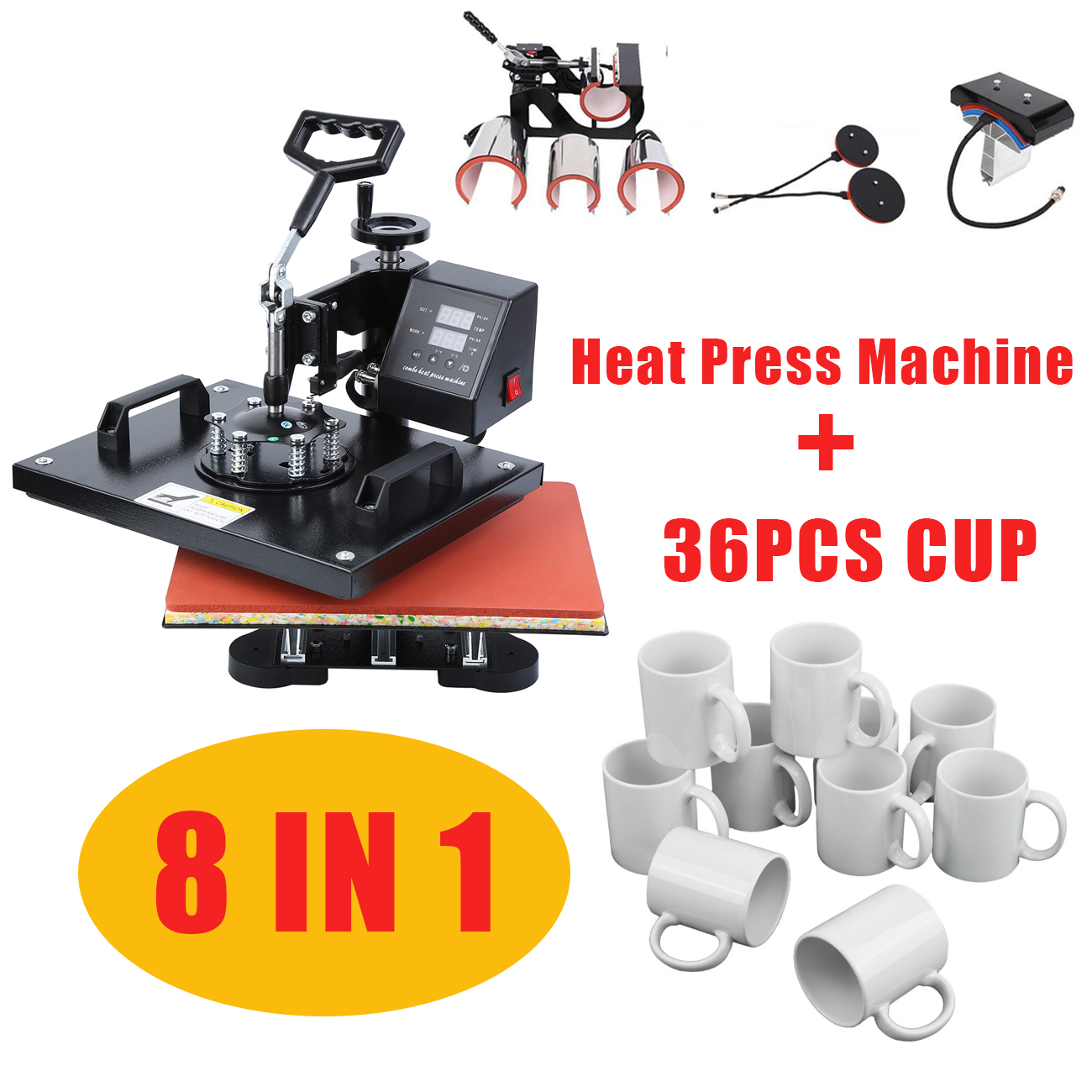 30*38CM/38*38CM 8 In 1 Combo Heat Press Machine Heat Transfer Printer Muntifunctional Sublimation For T-shirt Mug Hat Plate Cap