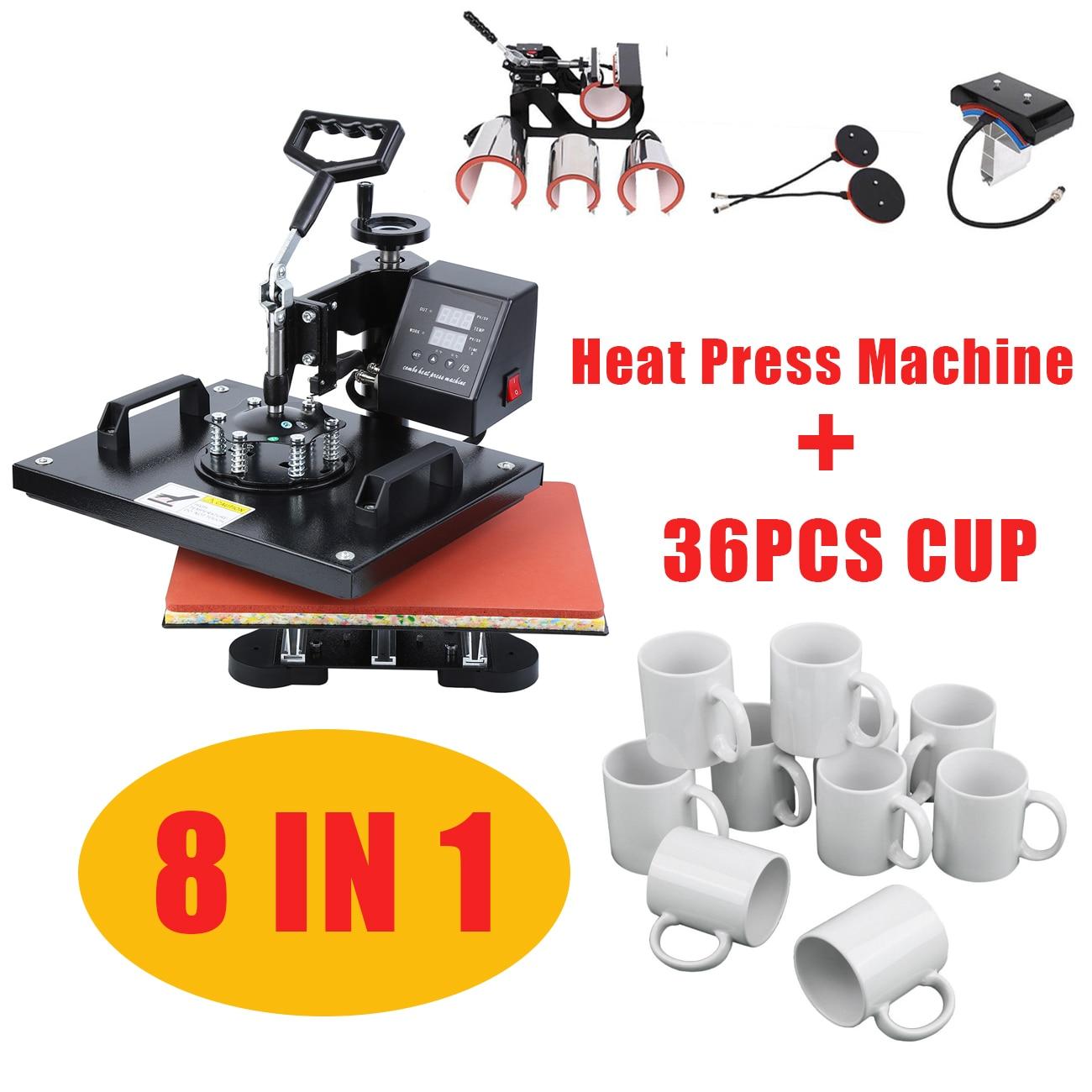30*38CM/38*38CM 8 In 1 Combo Heat Press Machine Heat Transfer Printer Muntifunctional Sublimation For T-shirt Mug Hat Plate Cap