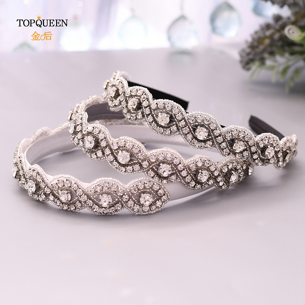 TOPQUEEN S28-FG Wedding Rhinestone Hair Accessories Bridal Tiara Headpieces Silver Rhinestone Headband Wedding Hair Jewelry