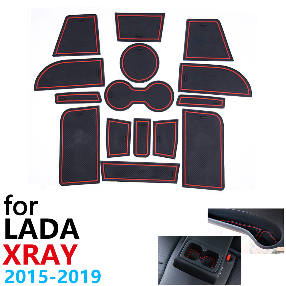 Anti-Slip Rubber Cup Cushion Door Groove Mat For Lada XRAY 2015~2019 2016 2017 2018 15Pcs Accessories Car Stickers Mat For Phone