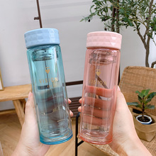 Transparent Creative Double Layer Glass Cup Heat Resistant Hipster with Tea Infuser Harajuku Ins Portable