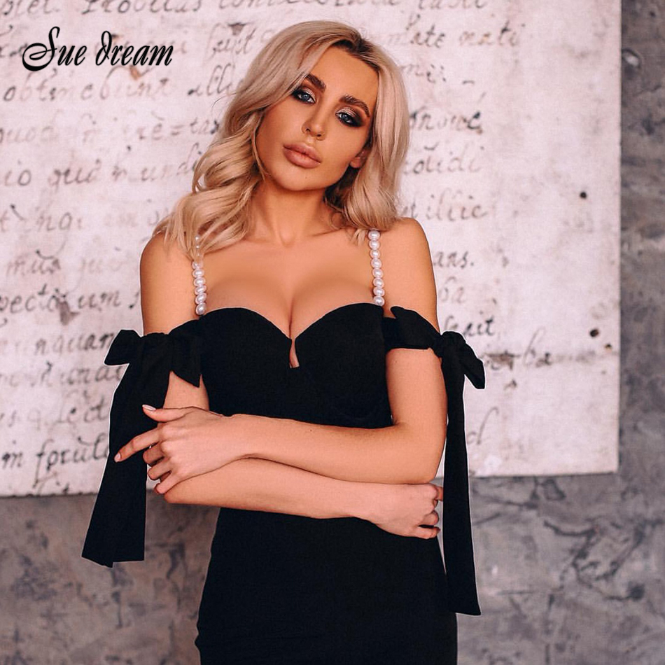 2020 Sexy Off Shoulder Bow Woman Bodycon Bandage Jumpsuit Elegant Black Spaghetti Pearl Casual Long Jumpsuit
