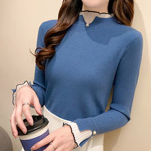 Женский свитер женский с длинным рукавом водолазка кружевной