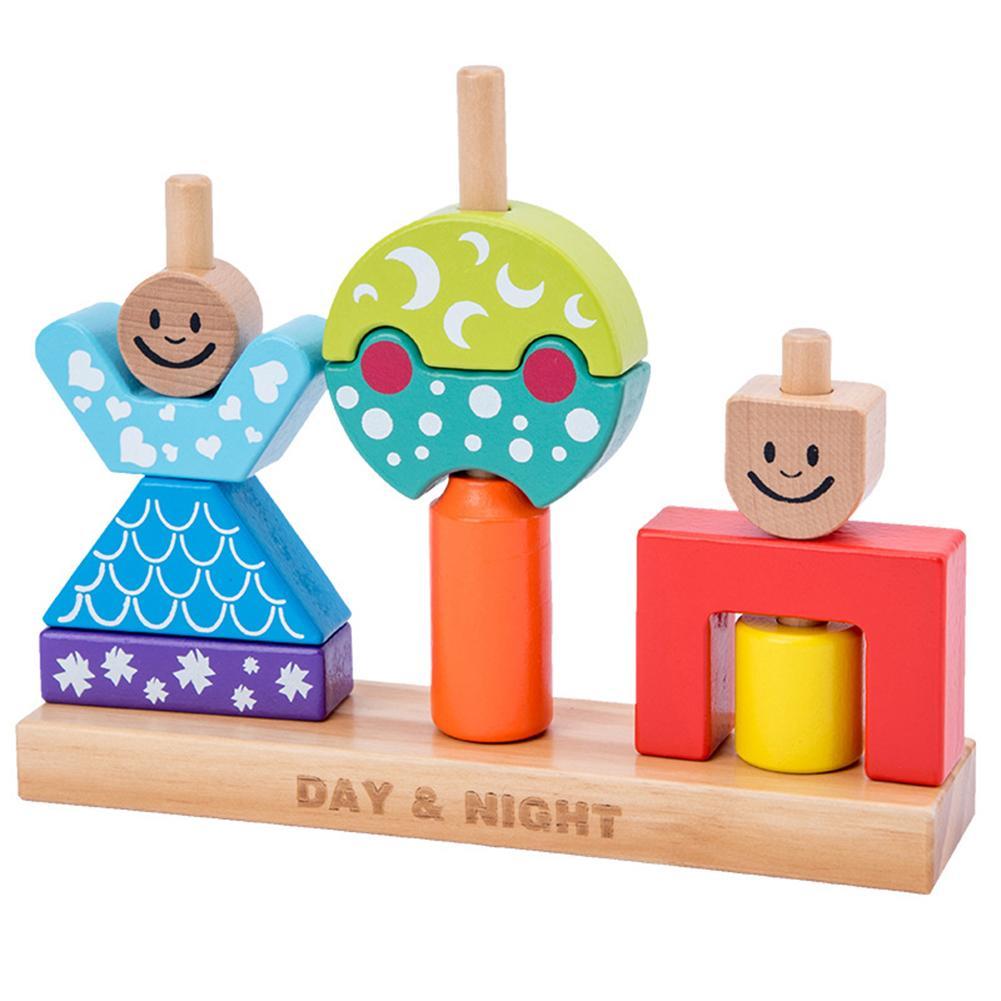 Wooden Cartoon Day Night Pillar Blocks DIY Building Early Learning Baby Toy
