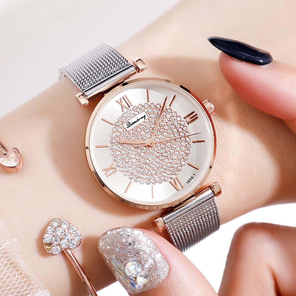 Ladies Silver Crystal Watches Female Bracelet Luxury Rhinestone Dial Stainless Steel Strap Watch Women Magnetic Clock Bayan Saat