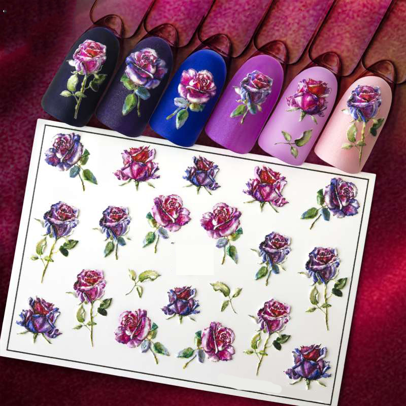 3D Acrylic Engraved  Nail Sticker  Valentine's Day Flowes Heart  Desgin Water Decals Empaistic Nail Water Slide Decals Z0277
