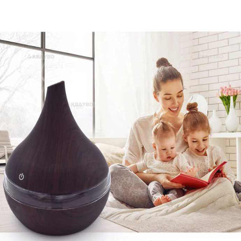 300ml USB Electric Humidifier Aroma Oil Diffuser Ultrasonic Wood Grain Air Humidifier USB Mini Mist Maker LEDLight For Home