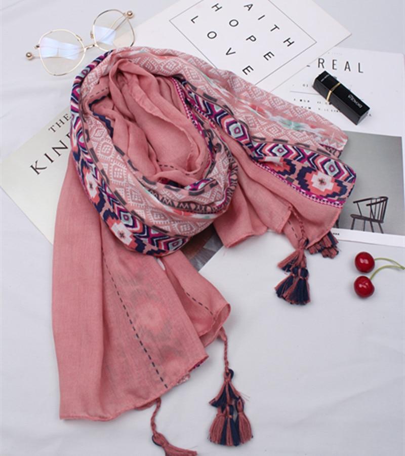 2020 Ethnic Pink Hijab Scarf Women шарф женский Boho Long Printed Scarves Foulard Femme Muslim Hijab Snood
