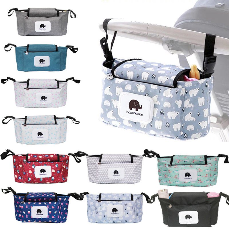 Baby Stroller Accessories Organizer Bag Trolley Pram Carriage Nappy Diaper Bag Waterproof Hanging Basket Stroller Accessories