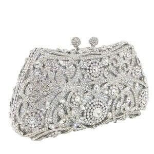 Image 4 - Boutique de fgg sparkling prata feminino cristal embreagem sacos de noite nupcial diamante embreagem bolsa festa casamento minaudiere bolsa