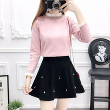 College Wind Sweet Lady Beading Pullover Sweater Skirts More Put Nail Bead Women Two-Piece Outfit Knitted Clothing Set Dress