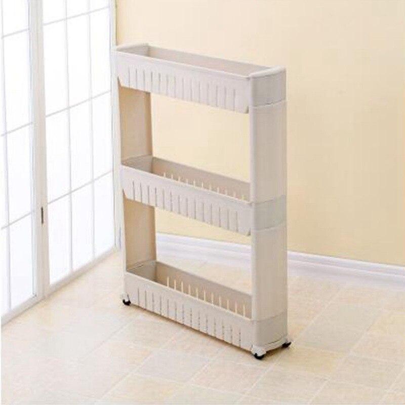 Gap Storage Shelf For Kitchen Storage Skating Movable Plastic Bathroom Shelf Save Space 3 Layers High Quality(gray)