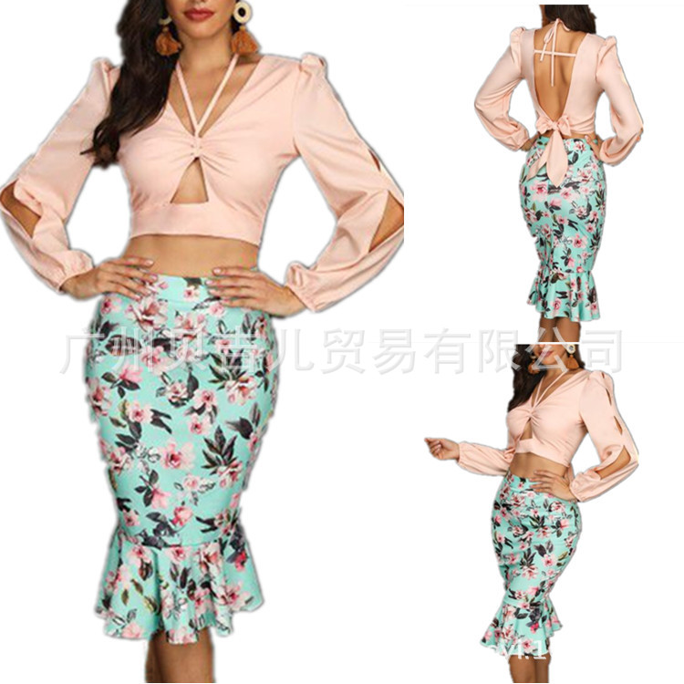 2019 New Style Hot Selling Hot Selling-High-waisted Elasticity Sheath Fishtail Peony Print Skirt