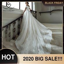 Swanskirt高級ビーズのウェディングドレス2020の恋人オフショルダーアップリケaラインレースアップ王女の花嫁vestidoデ · ノビアGY23