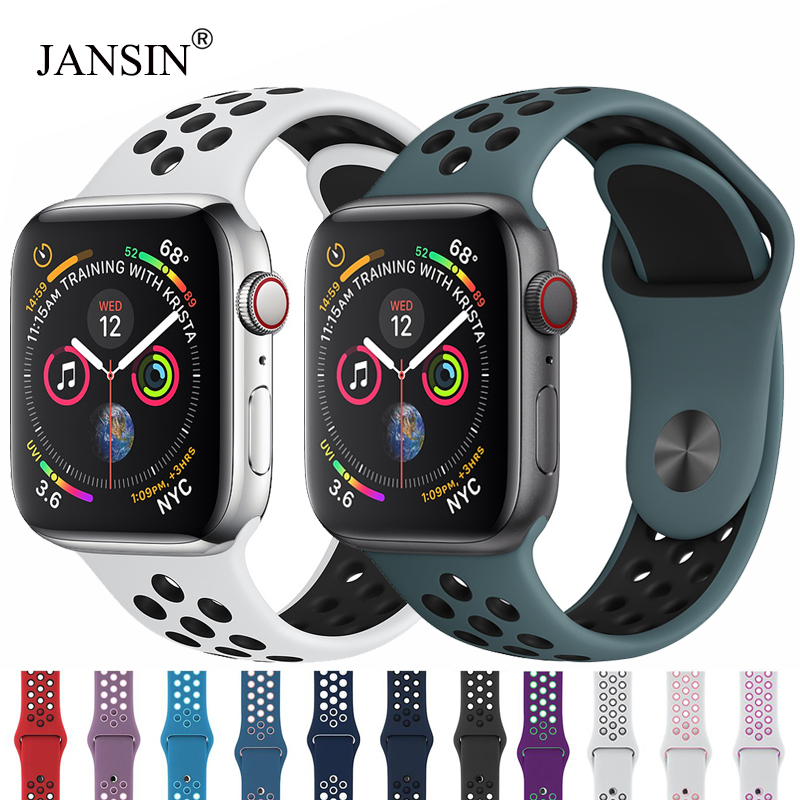 Breathable Silicone Sport band For Apple Watch 40mm 44mm 38mm 42mm strap iwatch 5 4 3 2 1 bracelet apple watch band Accessories