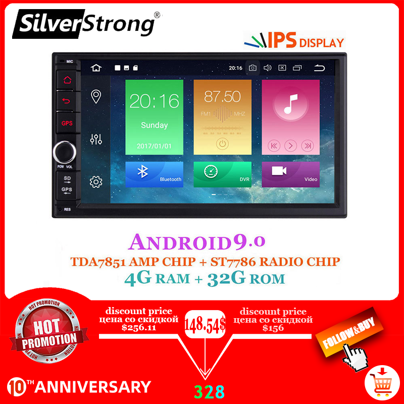 IPS Android9.0 Universal 2din coche DVD OctaCore 4G 32G DSP doble DIN GPS para coche Radio Autoradio TPMS SilverStrong 706x30-x5