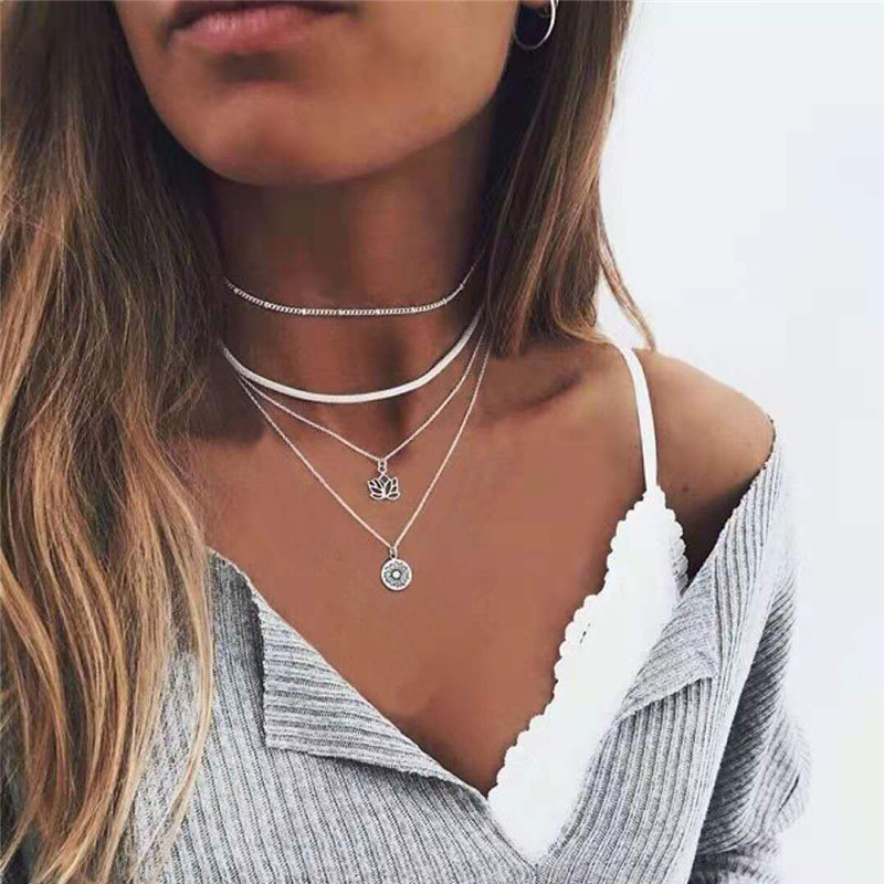 Silver Color Lotus Pendant Necklace Layered Chain Necklace Women Fashion Snake Choker Necklaces Bead Coin Collier