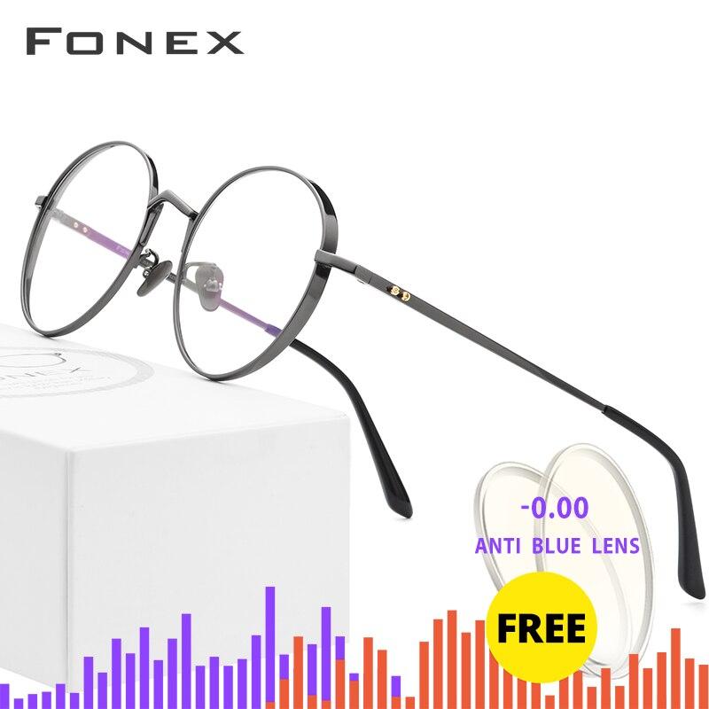 Pur titane lunettes cadre hommes ultraléger rétro rond myopie optique Prescription lunettes cadres femmes Vintage lunettes 884