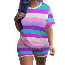 New Fashion Summer Overalls Women Strip O Neck Short Sleeve Rompers Elegant Vintage Hollow Out Jumsuits Plus Size 3XL