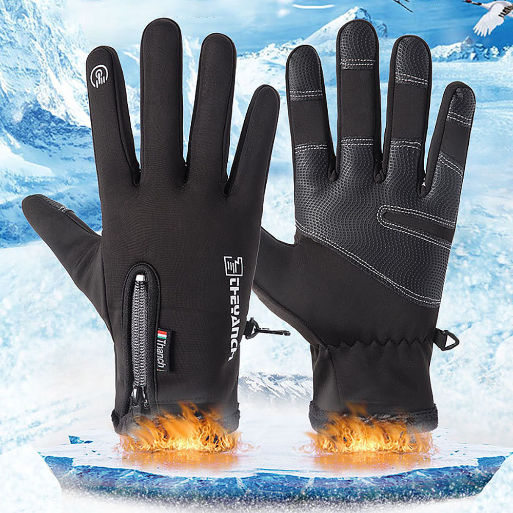 Cycling Gloves Waterproof and warm Winter With Wrist Support Touch Screen Outdoor Sports Anti-slip Windproof Bicycle Gloves