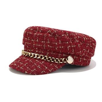 Женская шапка в стиле милитари, модная уличная однотонная Кепка с цепным ремнем, женская шапка gorras gorra mujer, 2019