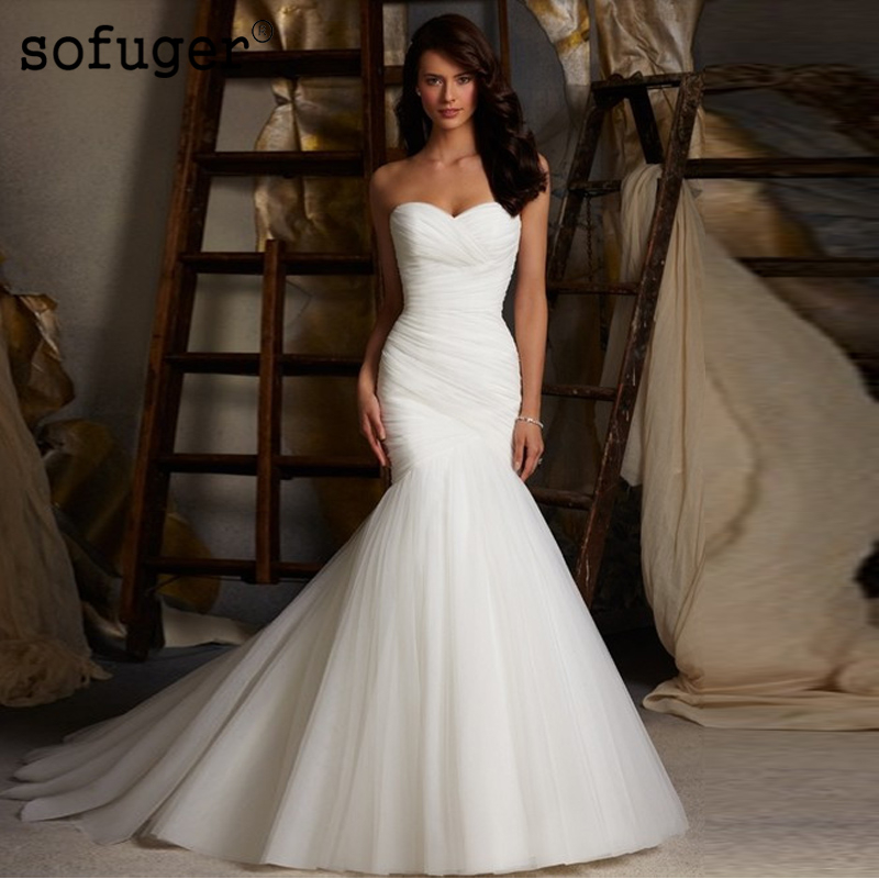 Hot Sale Sexy Tulle Trumpet Mermaid Wedding Dresses Strapless Cheap Bridal Dress Vestidos De Noivas Lace Up Back